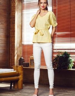 Блуза лен желтая