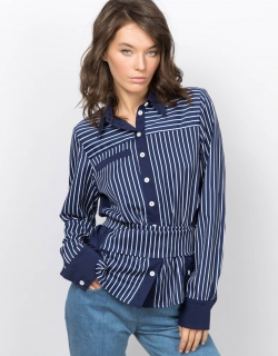 Рубашка с завязками синяя