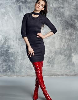 Платье замша черное