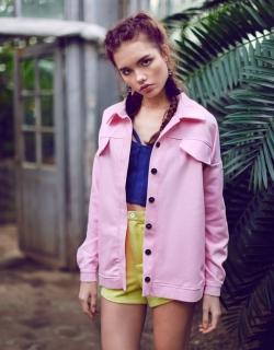 Куртка джинсовая розовая