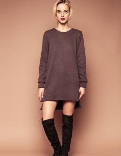 Платье свитер коричневое