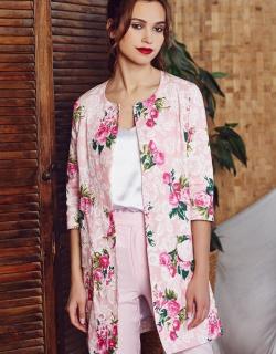 Жакет цветочный розовый
