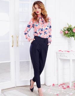 Рубашка цветы розовая
