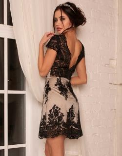 Платье кружевное с открытой спиной черное