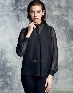 Рубашка шифон черная